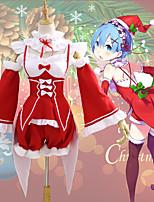 Недорогие -Вдохновлен Re: Zero - Начало жизни в другом мире Костюмы Санта Клауса / Rem Аниме Косплэй костюмы Косплей Костюмы Рождество Воротник / Рукава / Костюм Назначение Жен.
