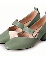 Недорогие -Жен. Наппа Leather Осень Милая / Минимализм Обувь на каблуках На толстом каблуке Круглый носок Пряжки Черный / Зеленый / Миндальный