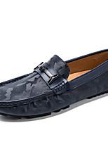 Недорогие -Муж. Кожаные ботинки Кожа Весна & осень На каждый день / Английский Мокасины и Свитер Нескользкий Черный / Коричневый / Синий