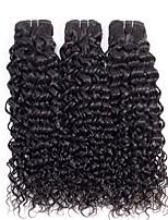 Недорогие -3 Связки Бразильские волосы Волнистые человеческие волосы Remy Необработанные натуральные волосы Головные уборы Человека ткет Волосы Сувениры для чаепития 8-28 дюймовый Естественный цвет