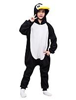 baratos -Pijamas Kigurumi Pinguim Pijamas Macacão Lã Polar Preto / Branco Cosplay Para Meninos e meninas Pijamas Animais desenho animado Festival / Celebração Fantasias