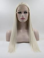 Недорогие -Синтетические кружевные передние парики Жен. Прямой Белый Свободная часть 180% Человека Плотность волос Искусственные волосы 18-26 дюймовый Регулируется / Кружева / Жаропрочная Белый Парик Длинные