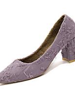 Недорогие -Жен. Полиуретан Зима Минимализм Обувь на каблуках На толстом каблуке Заостренный носок Белый / Черный / Лиловый