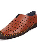Недорогие -Муж. Комфортная обувь Кожа / Полиуретан Лето На каждый день Мокасины и Свитер Нескользкий Белый / Коричневый / Синий