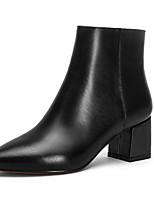Недорогие -Жен. Наппа Leather Осень Милая / Минимализм Ботинки На толстом каблуке Заостренный носок Ботинки Бант Черный