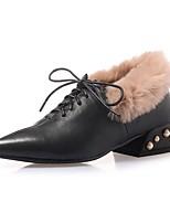 Недорогие -Жен. Наппа Leather Осень Обувь на каблуках На толстом каблуке Черный / Желтый