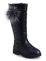 Недорогие -Девочки Обувь Полиуретан Наступила зима Удобная обувь / Модная обувь Ботинки для Для подростков Черный / Красный / Винный / Сапоги до колена