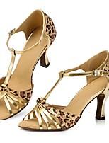 Недорогие -Жен. Обувь для латины Сатин На каблуках Леопардовый принт Тонкий высокий каблук Персонализируемая Танцевальная обувь Цвет-леопард