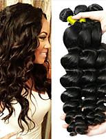 Недорогие -3 Связки Бразильские волосы Свободные волны человеческие волосы Remy Необработанные натуральные волосы Косплей Костюмы Человека ткет Волосы Сувениры для чаепития 8-28 inch Естественный цвет