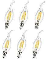 Недорогие -6шт 4 W 360 lm E14 LED лампы накаливания C35L 4 Светодиодные бусины COB Декоративная Тёплый белый / Холодный белый 220-240 V