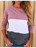 Недорогие -женская тонкая хлопковая футболка - цветной блок / однотонная шея