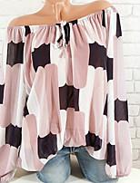 Недорогие -Жен. Большие размеры - Блуза С открытыми плечами Классический Контрастных цветов / В полоску