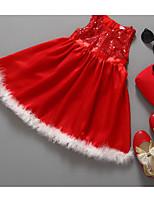 Недорогие -Дети Девочки Классический Повседневные Однотонный Длинный рукав Хлопок / Полиэстер Платье Красный