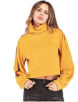 Недорогие -женская толстовка с длинным рукавом - сплошной цвет шею желтый с