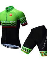 Недорогие -TELEYI Муж. С короткими рукавами Велокофты и велошорты - Зеленый Велоспорт Наборы одежды Дышащий Быстровысыхающий Виды спорта Полиэстер Однотонный Горные велосипеды Шоссейные велосипеды Одежда
