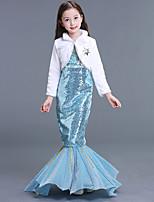 abordables -La Petite Sirène Aqua Princess Robes Fille Enfant Robe sirène et robe évasée Halloween Carnaval Mascarade Fête / Célébration Paillette Térylène Tenue Bleu ciel Sirène