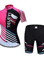 Недорогие -TELEYI С короткими рукавами Велокофты и велошорты - Розовый Велоспорт Дышащий В полоску / Эластичная