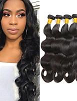 Недорогие -4 Связки Бразильские волосы Индийские волосы Естественные кудри Не подвергавшиеся окрашиванию человеческие волосы Remy Подарки Косплей Костюмы Головные уборы 8-28 дюймовый Естественный цвет
