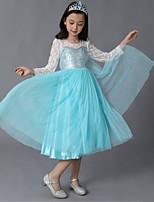 abordables -Cinderella Costume de Cosplay Fille Enfant Robes Noël Halloween Carnaval Fête / Célébration Tulle Coton Tenue Bleu ciel Princesse