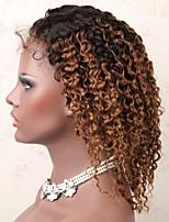 Недорогие -Не подвергавшиеся окрашиванию человеческие волосы Remy Полностью ленточные Парик Бразильские волосы Глубокий курчавый Парик Стрижка каскад Средняя часть Боковая часть 130% Плотность волос