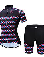 Недорогие -TELEYI С короткими рукавами Велокофты и велошорты - Черный Велоспорт Дышащий, Быстровысыхающий Однотонный / Эластичная