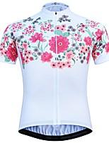 Недорогие -JESOCYCLING Жен. С короткими рукавами Велокофты - Белый Черный Велоспорт Джерси Верхняя часть, Быстровысыхающий 100% полиэстер / Эластичная