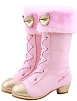 Недорогие -Мальчики / Девочки Обувь Искусственная кожа Зима Удобная обувь / Модная обувь Ботинки для Для подростков Белый / Розовый / Сапоги до середины икры