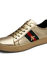 Недорогие -Муж. Комфортная обувь Кожа Осень Кеды Для прогулок Золотой / Белый / Черный