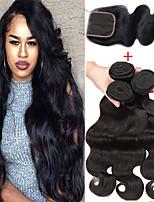 Недорогие -3 комплекта с закрытием Бразильские волосы Малазийские волосы Естественные кудри человеческие волосы Remy Необработанные натуральные волосы Косплей Костюмы Человека ткет Волосы Сувениры для чаепития