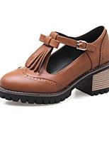 Недорогие -Жен. Полиуретан Весна Обувь на каблуках На толстом каблуке Черный / Бежевый / Желтый