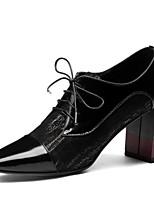 Недорогие -Жен. Наппа Leather Лето Милая / Минимализм Ботинки На толстом каблуке Ботинки Черный