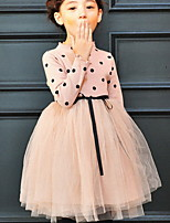 Недорогие -Дети Девочки Классический Однотонный Длинный рукав Платье Черный
