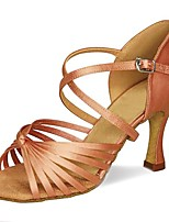 Недорогие -Жен. Обувь для латины Сатин На каблуках Пряжки Тонкий высокий каблук Персонализируемая Танцевальная обувь Черный / Желтый / Коричневый