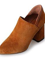Недорогие -Жен. Замша / Овчина Весна На каждый день / Минимализм Обувь на каблуках На толстом каблуке Круглый носок Ботинки Черный / Коричневый / Телесный