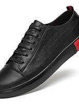 Недорогие -Муж. Кожаные ботинки Кожа Весна & осень На каждый день / Английский Кеды Нескользкий Белый / Черный