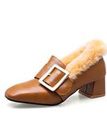 Недорогие -Жен. Полиуретан Наступила зима Обувь на каблуках На толстом каблуке Квадратный носок Черный / Желтый / Зеленый / Для вечеринки / ужина