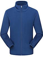 cheap -Men's Hiking Fleece Jacket Winter Outdoor Solid Color Thermal Warm Windproof Fleece Lining Breathable Winter Fleece Jacket Fleece Full Length Visible Zipper Fishing Climbing Camping / Hiking / Caving