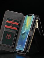 abordables -CaseMe Coque Pour Huawei Huawei Mate 20 Pro Portefeuille / Porte Carte / Avec Support Coque Intégrale Couleur Pleine Dur faux cuir pour Huawei Mate 20 pro