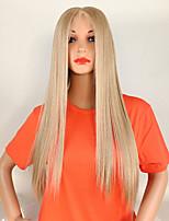 Недорогие -Синтетические кружевные передние парики Жен. Прямой Золотистый Средняя часть 180% Человека Плотность волос Искусственные волосы / Kanekalon 18-26 дюймовый Регулируется / Кружева / Жаропрочная