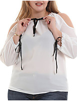 Недорогие -Жен. Оборки Блуза Классический / Уличный стиль Однотонный