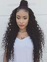 Недорогие -человеческие волосы Remy Натуральные волосы 6x13 Тип замка Лента спереди Парик Перуанские волосы Свободные волны Черный Парик Глубокое разделение 250% Плотность волос / Природные волосы