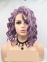Недорогие -Синтетические кружевные передние парики Жен. Глубокий курчавый Фиолетовый Стрижка каскад 130% Человека Плотность волос Искусственные волосы 12 дюймовый Женский Фиолетовый Парик Короткие Лента спереди