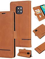 Недорогие -Кейс для Назначение Huawei Huawei Mate 20 Pro Кошелек / Бумажник для карт / Флип Кейс на заднюю панель Однотонный Твердый Кожа PU для Huawei Mate 20 pro