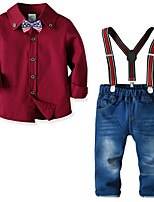 Недорогие -Дети Мальчики Классический Повседневные Однотонный Длинный рукав Обычная Полиэстер Набор одежды Красный
