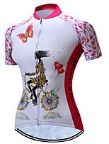 Недорогие -TELEYI Жен. С короткими рукавами Велокофты - Розовый Мультипликация Цветочные / ботанический Велоспорт Джерси, Дышащий Быстровысыхающий Полиэстер / Эластичная