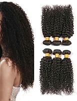 Недорогие -6 Связок Бразильские волосы Индийские волосы Kinky Curly 8A Натуральные волосы Необработанные натуральные волосы Подарки Косплей Костюмы Головные уборы 8-28 дюймовый Естественный цвет