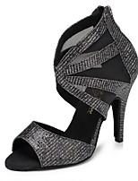 Недорогие -Жен. Обувь для латины Синтетика На каблуках Планка Тонкий высокий каблук Персонализируемая Танцевальная обувь Серебристо-серый