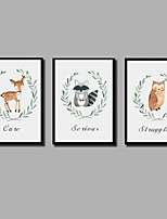 Недорогие -С картинкой Отпечатки на холсте - Животные Рождество Современный Modern