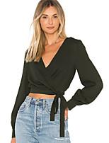 Недорогие -Жен. Блуза Уличный стиль Однотонный