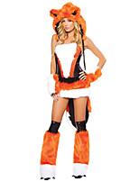 Недорогие -Fox Girl Волк-женщины Костюм Жен. Взрослые Хэллоуин Рождество Рождество Хэллоуин Карнавал Фестиваль / праздник Терилен Полиэстер Инвентарь Черный / оранжевый Животное
